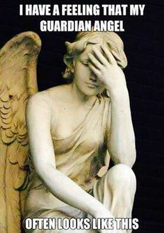 Check out: Funny Memes - Guardian angel. One of our funny daily memes selection. We add new funny memes everyday! Bookmark us today and enjoy some slapstick entertainment! Facepalm Meme, Statue Ange, Catholic Memes, Funny Quotes, Funny Memes, Funniest Quotes, Hilarious Jokes, Memes Humor, Clumsy Quotes