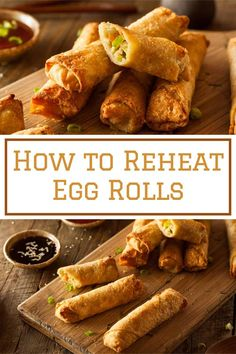 How to reheat egg rolls. There are 5 ways in which you can reheat egg rolls. You can reheat them in the oven, microwave and oven, microwave, skillet, and air fryer. Frozen Egg Rolls, Chinese Egg Rolls, Duck Pancakes, Rolled Sandwiches, Microwave Eggs, Chicken Egg Rolls, Cabbage Rolls, How To Cook Eggs