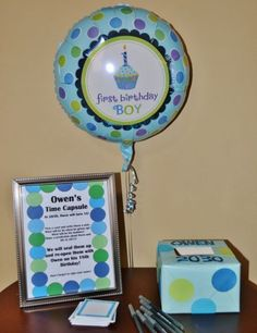 Time capsules are great ways to express 1st birthday wishes.  See more first boy birthday and party ideas at one-stop-party-ideas.com