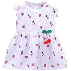 f00d24cb7 Waotier Vestido para NiñAs Vestido Estampado De Frutas Vestido De Princesa  Vestido De NiñA De Verano