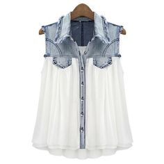 Love this Chiffon & Denim top!
