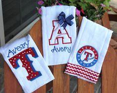 Set of 3 Texas Rangers burp cloth set for by kristilynnbasinger