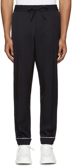 VALENTINO Navy Pyjama Trousers. #valentino #cloth #trousers