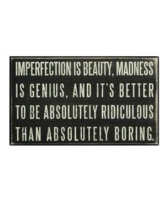 'Imperfection' Box Sign