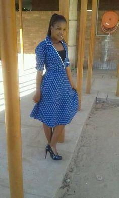 Glamorous Shweshwe Dresses 2017 / 2018 ⋆ fashiong4 African Fashion Dresses, African Dress, Fashion Outfits, Women's A Line Dresses, Short Sleeve Dresses, Shweshwe Dresses, Become A Fashion Designer, African Design, Elegant Outfit