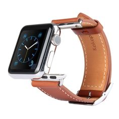 [USD12.32] [EUR11.10] [GBP8.68] Kakapi Metal Buckle Cowhide Leather Watchband with Connector for Apple Watch 38mm(Brown)