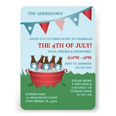 Fun and patriotic picnic Fourth of July party invitations featuring a bunting banner and a bucket with ice and soda bottles in it. A fun and unique design in red, white a blue making it perfect for July 4th, Labor Day or Memorial Day.
