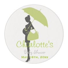 Green Silhouette Baby Shower Edible Frosting Rounds