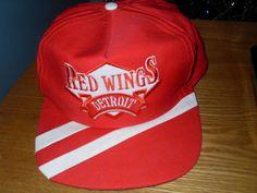 9dbc03ed6affb2 VINTAGE DEADSTOCK DETROIT RED WINGS EMBROIDERED SNAPBACK HAT CAP SIDE LINER  RARE #SideLiner #DetroitRedWings