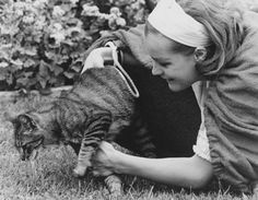 Romy Schneider and a cat