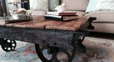factory cart coffee table, how to, painted furniture, repurposing upcycling Cart Coffee Table, Rustic Coffee Tables, Coffee Table With Wheels, Industrial Design Furniture, Industrial Living, Industrial Interiors, Industrial Office, Rustic Industrial, Coffee Table Makeover