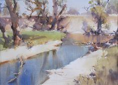 Honeysuckle Creek-Jan 2018 WC 55 x 76 cm Australian Artists, Jan 2018, New Art, Landscape Paintings, Watercolor Art, Landscape Photography, Sculptures, Watercolors, Wood