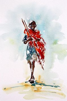 maasai boy  #watercolor jd
