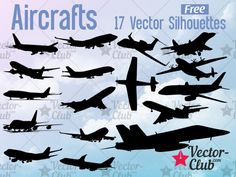 Aircrafts – 17 Vector Silhouettes