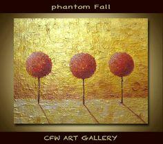 Tree, Art, Painting, Acrylic painting, Original abstract impasto painting, Metallic Gold Abstract Modern Wall Art Painting 8x10