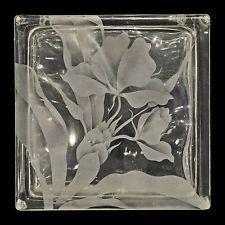 Vintage Hawaiian Etched Tinted Glass Block Vase Frank Oda