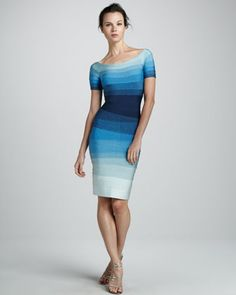 Short-Sleeve Ombre Bandage Dress by Herve Leger at Neiman Marcus.
