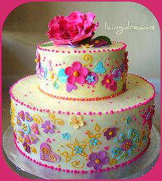 pretty - could be for a little girls birthday, bridal shower, informal wedding cake, a special birthday.