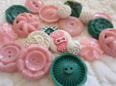 Vintage Buttons  Cottage chic mix of fancy pink by pillowtalkswf, $8.00