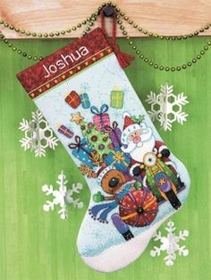 Santa's Sidecar Stocking Cross Stitch