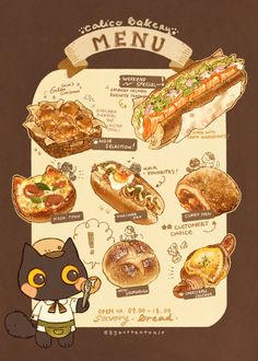 🍞🥖🥐✨ Sweet and savory menu available, make sure not to miss calico's bakery specialty for each! Bakery Menu, Cute Food Art, Cute Food Drawings, Food Sketch, Aesthetic Food, Food Illustrations, Food And Drink, Cooking, Recipes