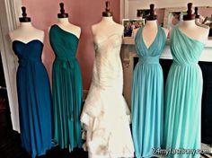 9af62bcbaefd59 blue ombre bridesmaid dresses looks