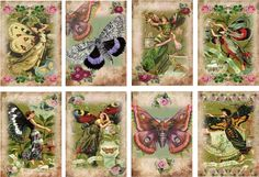 8 BUTTERFLY FAIRY - LADY VINTAGE 155 LB PAPER CRAFT CARD SCRAPBOOK TAG   eBay