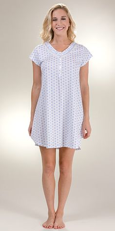a7b8c8ee76 Sleepshirt by Eileen West - Cotton Knit V-Neck Short Gown in Twirly Blue.  More information. More information. Cotton Sleepshirts ...