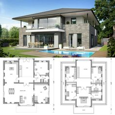 modern home design company Sims House Plans, New House Plans, Modern House Plans, Modern House Design, House Floor Plans, Roof Architecture, Architectural Design House Plans, Home Design Plans, House Layouts