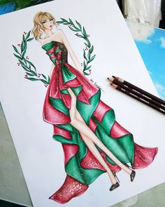 Fashion Drawing Dresses, Fashion Illustration Dresses, Fashion Drawings, Fashion Illustrations, Fashion Art, Fashion Outfits, Fashion Ideas, Illustration Sketches, Illustration Artists