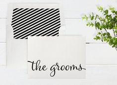 The Grooms Boxed Notecards - Shimmer Cardstock -  Color and Envelope Liner Options - 6 Cards & Lined Envelopes Per Box