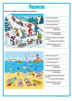 Description image - Vacances French Teaching Resources, Spanish Activities, Teaching French, Teaching English, Learn German, Learn French, French Lessons, Spanish Lessons, Learning Italian