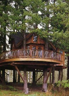 Yelm, Washington  Autumn 2001  Romantic 400 square foot getaway built on a horse farm. A curved staircase leads you to an Art nouveau door, into a finely finished interior of reclaimed fir. It sleeps two people, has a sitting room, and looks over a pond.  TreeHouse Workshop, Fall City, WA 98024