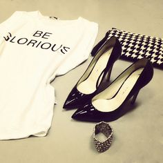 Visit us at www.cthrou.com #strass #clothes #rock_style #style  #t_shirt #apparel #dress   #fashion #ellemagazine #cthrou Elle Magazine, Fashion Lookbook, Rock Style, Dress Fashion, Heels, T Shirt, Clothes, Collection, Dresses
