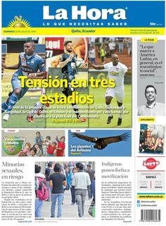 """Acá nuestra portada de hoy, 12 de julio del 2015. Tema destacado: """" Tensión en tres estadios""""."""