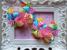 Hair Bows Set of 2Funky Fun Over the Top Bows by bowdaciousbows417, $13.98