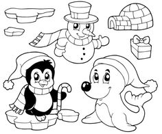 Penguin Coloring Pages : Penguin On Happy Christmas Coloring Page ...
