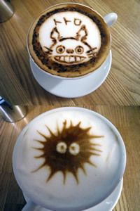 Totoro and Soot Sprite Lattes!  So cute, so much coffee artistry!  #squishable #cutengeeky