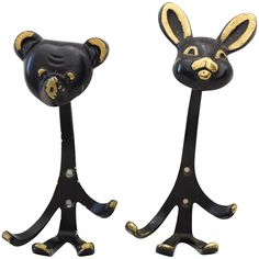 Two Walter Bosse Rabbit and Bear Mid-Century Wall Hooks, Brass, Austria, 1950s