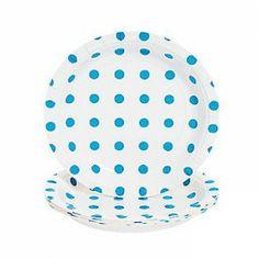 "Turquoise Polka Dot Dessert Paper Plate, 7""   8 ct - $2.15"
