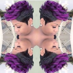 This #mohawk #pixiecut✂️ done by #WestPalmBeach stylist @damasterstylist is EVERYTHING! #PurpleHair #HairColor Visit VoiceOfHair.com for more #Hairspiration!