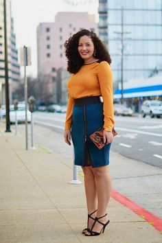 1 Piece, 3 Women: The Pencil Skirt. For this brand-new column, we've recruited three fashionable ladies to take a new item, and show us how they'll wear it with stuff they already own. How would you sport it? Here's @Jaline With Curves rocking her look. #NewRedbook