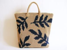 Crochet pattern for leaves backpack. Practice tapestry crochet to form a drawing. Charts with symbols, written instructions and images