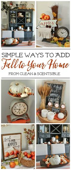 Fall Decor Inspiration Lots of simple and inexpensive ideas to help you decorate your home for fall.Lots of simple and inexpensive ideas to help you decorate your home for fall. Autumn Decorating, Decorating Your Home, Budget Decorating, Decorating Games, Interior Decorating, Deco Cafe, Deco Floral, Fall Projects, Diy Projects