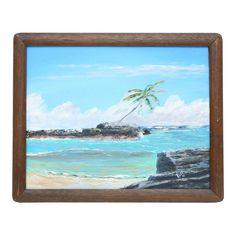 Vintage 1960's Oil Seascape Beach Painting on Canvas