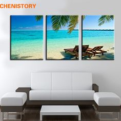 Unframed 3 Panel Seaside Beach Modern Home Wall Decor Canvas Print Painting Pintura Sobre Lienzo For Room Decor Wall Picture