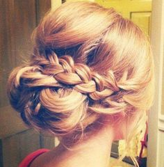 Wedding hair... Like the braid wrap but would like it better with a bun of curls
