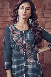 Picture of Sizzling blue checkered designer kurti Indian Suits, Indian Wear, Neckline Designs, Edwardian Dress, Indian Sarees, Women Wear, Ladies Wear, Salwar Kameez, How To Wear