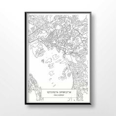 Oslo Map Print, City Map Art of Oslo, Norway Poster, Coordinates Wall Art, Norway Gifts, Travel Map printable, Office Home Decor, 1043 by CoolPage on Etsy