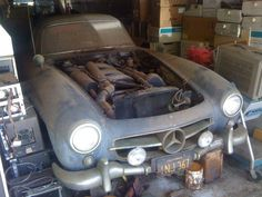 1 of 29 ever produced alloy-bodied 1955 Mercedes-Benz 300 SL Gullwing found sitting in a California garage among old computer equipment.